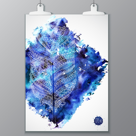 plaster wall: Poster with watercolor stain and doodle graphic feather hanging on plaster monochrom wall background. Overlay dust grainy texture for your design. Decorative render.