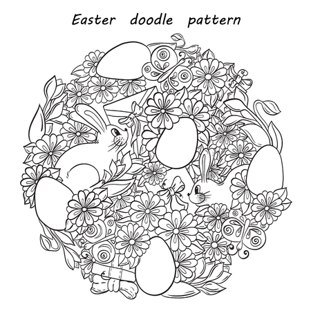 abstract doodle: Floral doodle background pattern Happy Easter circle in vector. Henna paisley mehndi design tribal element. Black and white. Pattern With Egg and Bunny Shape. Abstract Happy Easter Doodle Form of Egg.