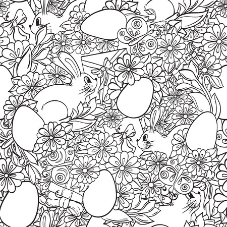 children book: Seamless Floral doodle background pattern Happy Easter circle in vector. Henna  mehndi design background. Black and white. Pattern With Egg and Bunny Shape. Abstract Happy Easter Doodle Form of Egg. Illustration