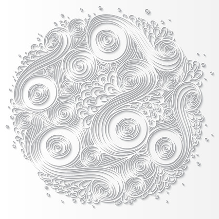 indian ink: Doodle 3D White Paper Pattern With Circle Shape. Abstract Doodle Form of Flowers and Waves. Vector Illustration. Circle Template Design, Paper-cut Greeting Card with Shadows. Ethnic Doodles Pattern. Illustration