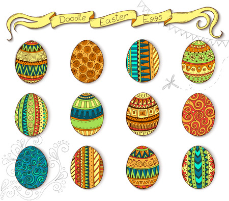 easter cake: Ink hand-drawn doodle vector Happy Easter set with eggs. Doodle style decorated easter egg collection. Each egg is decorated with a different pattern. Zentangle style. Illustration