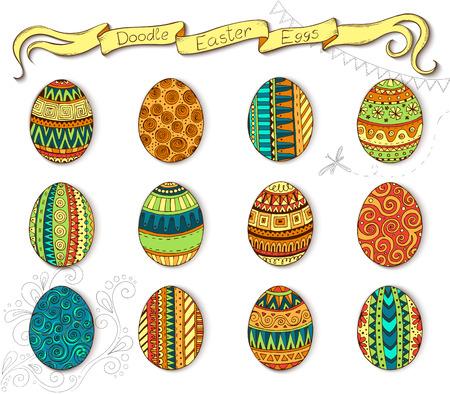 osterei: Ink handgezeichneten doodle Vektor Fröhliche Ostern mit Eiern. Doodle Stil dekoriert Osterei-Sammlung. Jedes Ei wird mit einem anderen Muster eingerichtet. Zentangle Art. Illustration