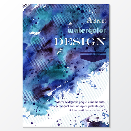 spatters: Vector template poster with watercolor paint and doodle graphic abstract background. Abstract Aquarelle Background for Business Flyers, Posters and Place Cards. Brochure Flyer design in A4 size