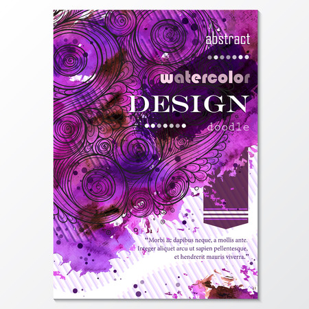 flyer: Vector template poster with watercolor paint and doodle graphic abstract background. Abstract Aquarelle Background for Business Flyers, Posters and Place Cards. Brochure Flyer design in A4 size
