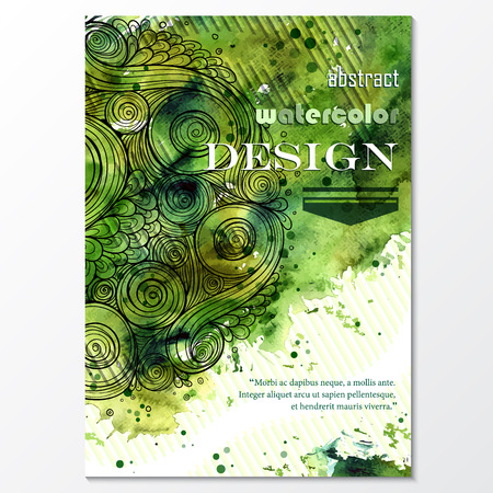 magazine cover: Vector template poster with watercolor paint and doodle graphic abstract background. Abstract Aquarelle Background for Business Flyers, Posters and Place Cards. Brochure Flyer design in A4 size