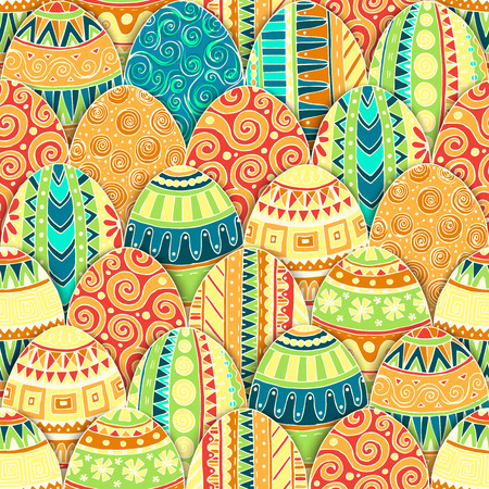 tea basket: Hand-drawn doodle vector Happy Easter seamless pattern with eggs. Doodle style decorated easter egg collection colorful background. Each egg is decorated with a different pattern. Zentangle style.