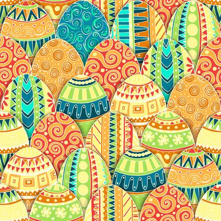 Handgetekende doodle vector Vrolijk Pasen naadloze patroon met eieren. Doodle stijl ingericht easter egg collectie kleurrijke achtergrond. Elk ei is versierd met een ander patroon. Zentanglestijl.