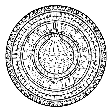 New Year theme. Doodle christmas ball on ethnic circle ornament. Hand drawn art winter mandala. Black and white ethnic background.