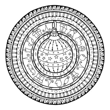 New Year theme. Doodle christmas ball on ethnic circle ornament. Hand drawn art winter mandala. Black and white ethnic background.