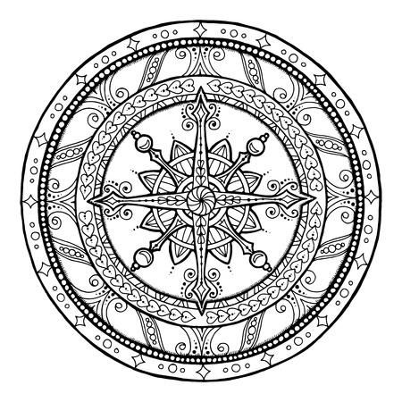 Christmas theme. Doodle snowflake on ethnic circle ornament. Hand drawn art winter mandala. Black and white ethnic background.
