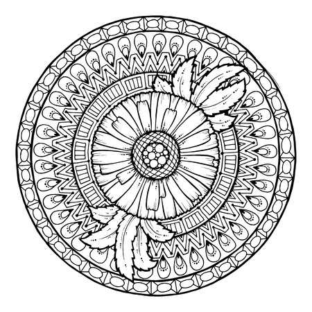 flower  hand: Floral theme. Circle summer doodle flower ornament. Hand drawn daisy art mandala. Black and white ethnic background.