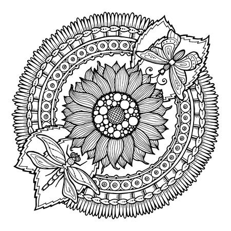 girasol: Ornamento de la flor del doodle del Círculo de verano. Dibujado a mano del arte de la mandala. Hecho por el trazo de dibujo. Fondo blanco y negro étnico. Patrón de Zentangle de libro para colorear para los adultos y niños.