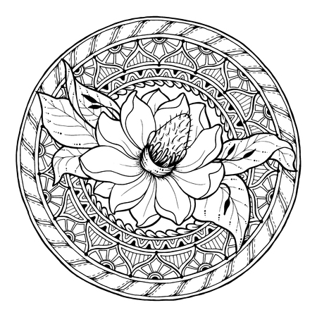 magnolia: Floral theme. Circle summer doodle flower ornament. Hand drawn magnolia art mandala. Black and white ethnic background.