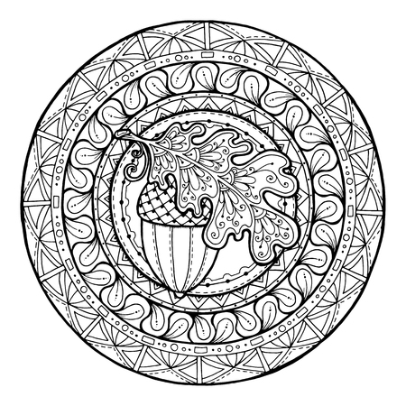 Circle autumn leaf ornament. Hand drawn art winter mandala. Made by trace from sketch. Black and white background. Zentangle pattern for coloring book for adults and kids.