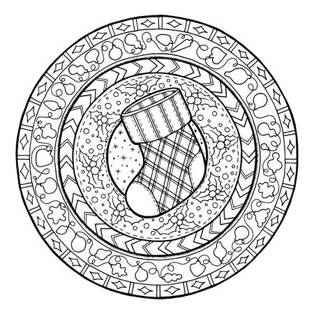 Nieuwjaar thema. Doodle Kerst sok op etnische cirkel ornament. Hand getrokken kunst winter mandala. Zwart-wit etnische achtergrond. Zentangle patroon voor kleurboek voor volwassenen en kinderen.
