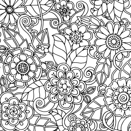 Doodle background in vector with doodles, flowers and paisley. ethnic pattern can be used for wallpaper, pattern fills, coloring books and pages for kids and adults. Black and white.