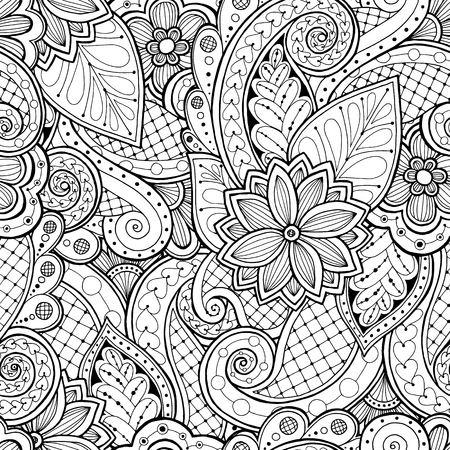 page: Doodle seamless background in vector with doodles, flowers and paisley. Vector ethnic pattern can be used for wallpaper, pattern fills, coloring books and pages for kids and adults. Black and white.