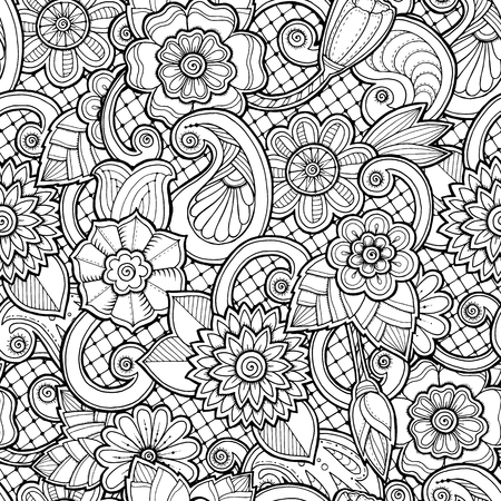color pages: Doodle seamless background in vector with doodles, flowers and paisley. Vector ethnic pattern can be used for wallpaper, pattern fills, coloring books and pages for kids and adults. Black and white.