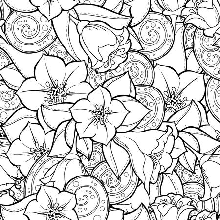 colouring pages: Doodle de fondo sin fisuras en el vector con doodles, flores y Paisley. Vector patr�n �tnica se puede utilizar para el papel pintado, patrones de relleno, libros para colorear y p�ginas para ni�os y adultos. En blanco y negro.