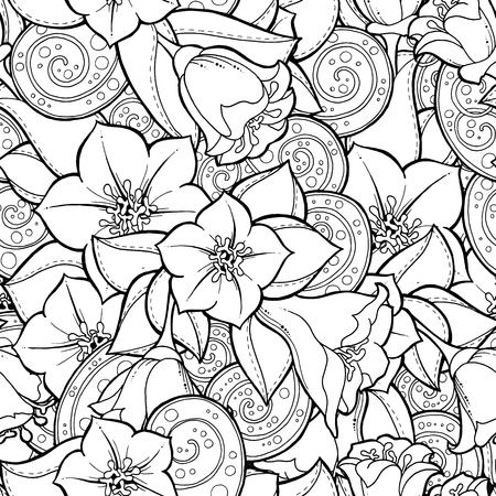coloring book pages: Doodle seamless background in vector with doodles, flowers and paisley. Vector ethnic pattern can be used for wallpaper, pattern fills, coloring books and pages for kids and adults. Black and white.