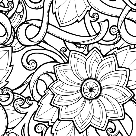 wallpaper doodle: Doodle seamless background in vector with doodles, flowers and paisley. Vector ethnic pattern can be used for wallpaper, pattern fills, coloring books and pages for kids and adults. Black and white.