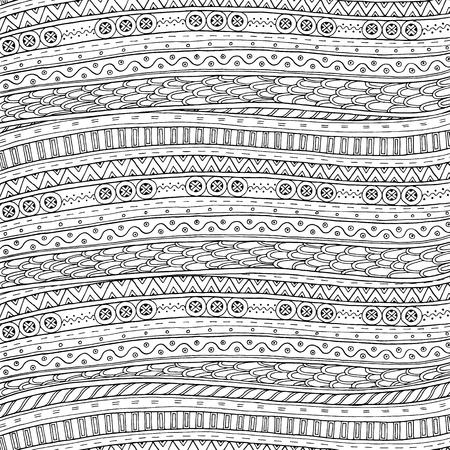 Doodle achtergrond in vector met doodles en etnische patroon. Vector etnische patroon kan worden gebruikt voor behang, patroonvullingen, kleurboeken en pagina's voor kinderen en volwassenen. Zwart en wit.