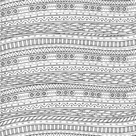 Doodle background in vector with doodles and ethnic pattern. Vector ethnic pattern can be used for wallpaper, pattern fills, coloring books and pages for kids and adults. Black and white. Reklamní fotografie - 48777028