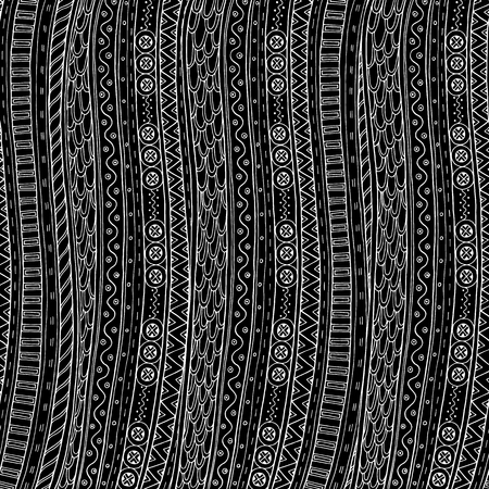 batik pattern: Doodle background in vector with doodles and ethnic pattern. Vector ethnic pattern can be used for wallpaper, pattern fills, coloring books and pages for kids and adults. Black and white.