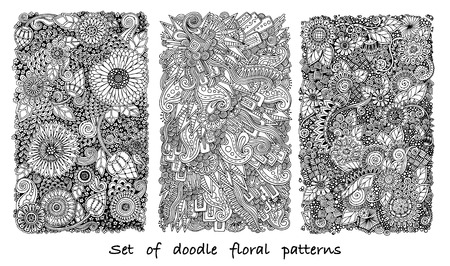 page: Set of doodle background in vector with flowers and paisley. Vector ethnic patterns can be used for wallpaper, pattern fills, coloring books and pages for kids and adults. Black and white. Illustration