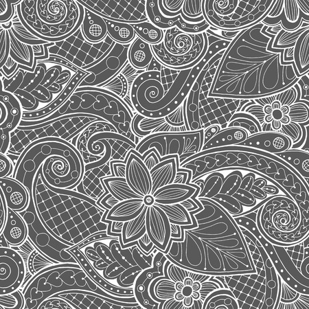 white flowers: Doodle seamless with doodles, flowers and paisley. Illustration