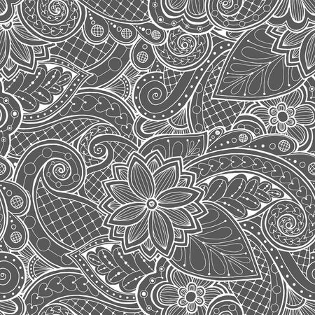 fondo blanco: Garabatos sin fisuras con garabatos, flores y Paisley.