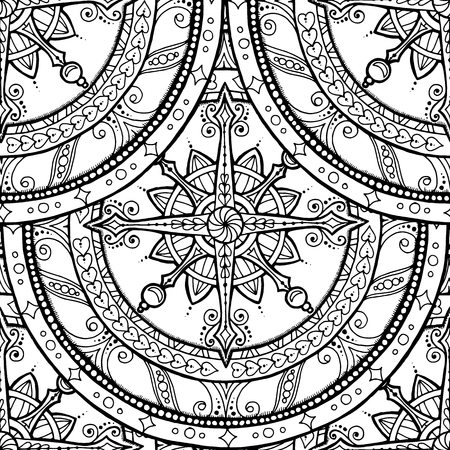 mandala: Seamless Christmas background. Winter pattern with lace snowflake on ethnic circle ornament. Hand drawn art winter mandala.Black and white background.