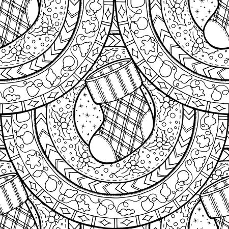 Seamless Christmas background.Winter pattern with Christmas sock on ethnic circle ornament. Hand drawn art winter mandala. Black and white background. Zentangle pattern. Illustration