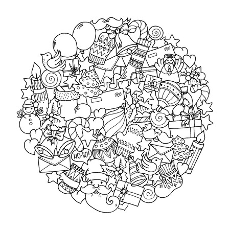 Christmas theme. Doodle mandala with balloons, bells, sweets, Christmas socks, gifts, mittens, envelope, letter, tree, stars, candle, bird, snowman, ball, bow, heart and Santa Claus. Ethnic ornaments.