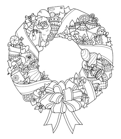 COLOURING: Christmas wreath. Doodle pattern with balloons, bells, sweets, Christmas socks, gifts, mittens, envelope, letter, tree, stars, candle, bird, snowman, ball, bow, heart and Santa Claus.