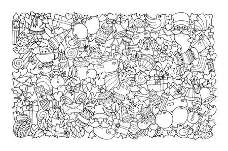 Weihnachtsthema. Doodle Hintergrund mit Ballon, Glocken, Süßigkeiten, Weihnachtssocken, Geschenk, Handschuhe, Umschlag, Brief, Baum, Stern, Kerze, Vogel, Schneemann, Ball, Bogen, Herz und Weihnachtsmann. Ethnische Verzierungen.