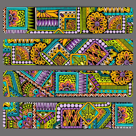 set series: Abstract vector hand drawn ethnic pattern card set. Series of image Template frame design for card.