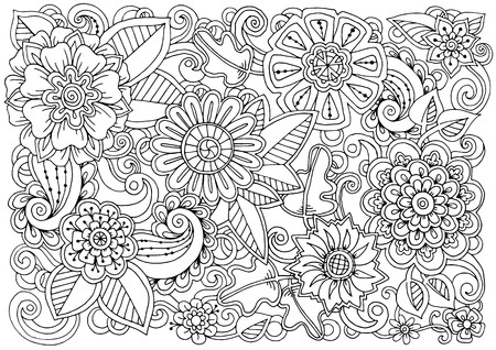 Hand drawn pattern with flowers. Ornate pattern with abstract flowers and leaves. Black and white background. Zentangle inspired pattern for coloring book pages for adults and kids.