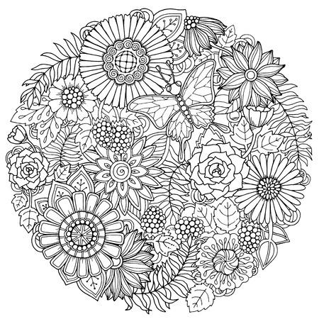 Circle zomer doodle bloem versiering met vlinder. Hand getrokken kunst bloemenmandala. Zwarte en witte achtergrond. Zentangle geïnspireerde patroon voor kleurboek pagina's voor volwassenen en kinderen. Stock Illustratie