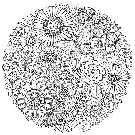Circle summer doodle flower ornament with butterfly. Hand drawn art floral mandala. Black and white background. Zentangle inspired pattern for coloring book pages for adults and kids. Illustration