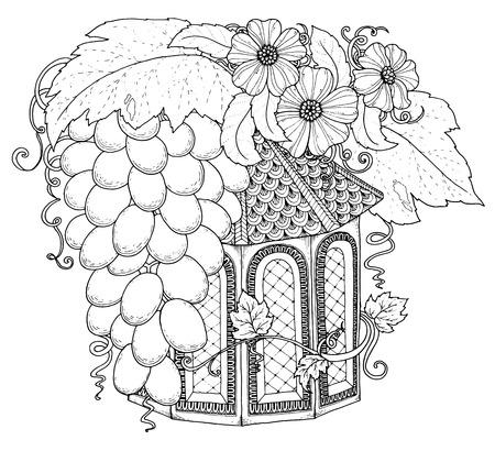 Zwart-wit houten nestkast. Hand getrokken schets nestkast versierd met bloemen ornament. Zentangle geïnspireerde patroon voor kleurboek pagina's voor volwassenen en kinderen, tattoo, poster. Boho-stijl.