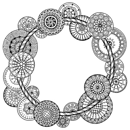 circle flower: Mandala theme. Floral wreath pattern with dots, lines and flowers. Black and white circle flower ornament. Floral mandala. Hand drawn ink pattern made by trace from personal sketch.