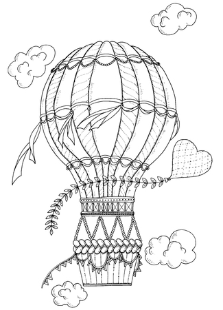 detailed: Summer theme. Black and white air balloon and doodle heart. Doodle romantic background. Zentangle inspired pattern with aerostat for coloring book pages for adults and kids. Illustration