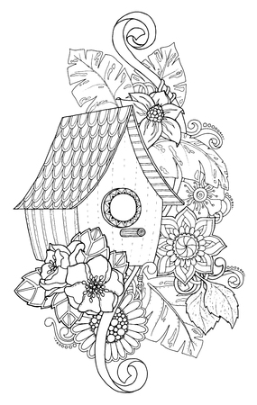 nesting box: Black and white wood nesting box. Hand drawn outline nesting box decorated with floral ornament. Zentangle inspired pattern for coloring book pages for adults and kids, tattoo, poster. Boho style.