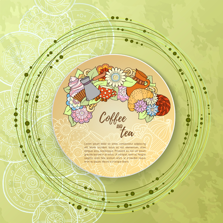 teahouse: Breakfast theme. Pattern with coffee cezve,  sweets and flowers. Tea and coffee hand drawn pattern. Background for menu, site, cafe, restaurant, teahouse.