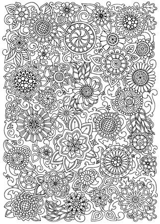 Mano Patrón Dibujado Con Flores. Modelo Adornado Con Flores Y Hojas ...