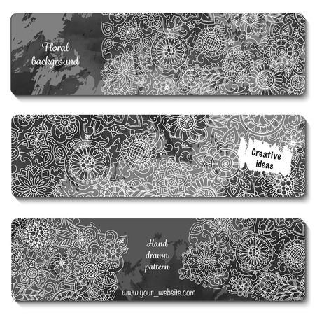 Set of vector template banners with watercolor paint abstract background and doodle hand drawn flowers. Series of image Template frame design for card. Black and white pattern. Zentangle inspired. Illustration