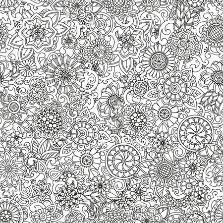 bordure de page: main Seamless dessiné modèle avec des fleurs. motif fleuri avec des fleurs abstraites et des feuilles. Doodle fond floral. Zentangle inspiré motif. motif noir et blanc pour votre entreprise.