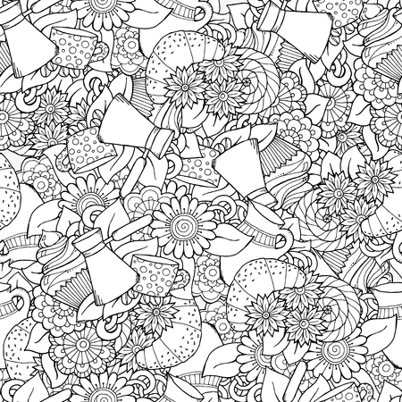 wallpaper doodle: Seamless tea and coffee doodle pattern with paisley and flowers. Ethnic zentangle pattern template can be used for menu, wallpaper, pattern fills, coloring books for kids and adults. Hand Drawn. Illustration
