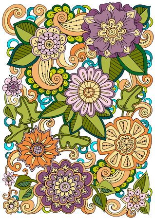 printed media: Floral card. Colored hand drawn pattern with flowers. Zentangle inspired pattern. Doodle background for web, printed media design. Banner, business card, flyer, invitation, greeting card, postcard.